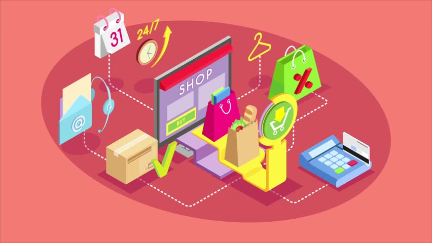 Video infographics saver. Isometric concept of online shopping. Safe shopping online with payment options.  Royalty-Free Stock Footage #33964465