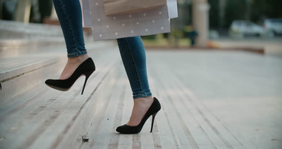 close-up of female legs in high heels walking on the stairs Royalty-Free Stock Footage #33977896