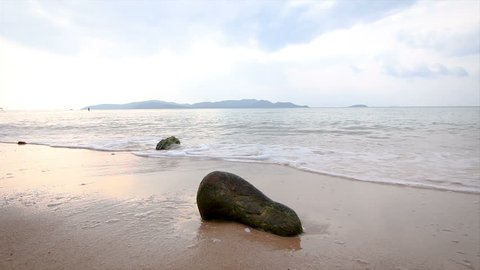 4K Sand beach with sea coast wave with ambient light and sound