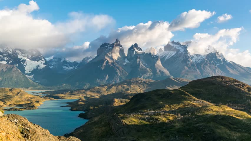 Timelapse view of Cuernos del Paine at Patagonia, Chile