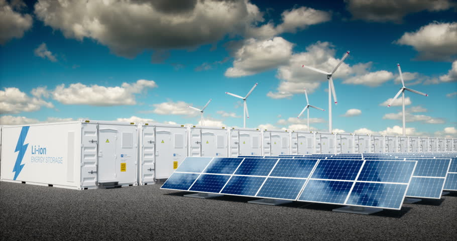 Concept of energy storage system. Concept of energy storage system. Renewable energy power plants - photovoltaics, wind turbine farm and  battery container. 3d rendering clip.