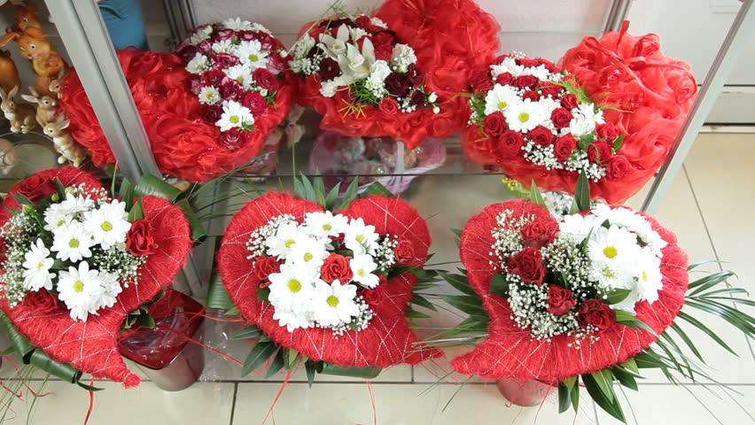 Valentines Day Flower Arrangements In Stock Footage Video 100