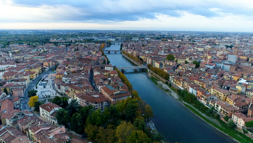 Verona Skyline Aerial Video View Italy. | Shutterstock HD Video #34020127