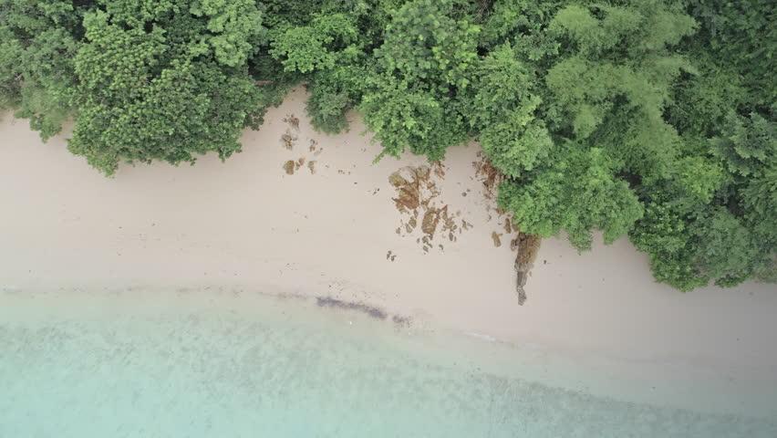 Aerial: flying over beach & forest on tropical island Ko Kradan, thailand | Shutterstock HD Video #34025785