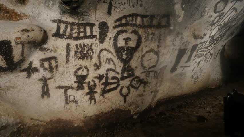 RABISHA, BULGARIA - OCTOBER 16, 2017: Walls with detailed prehistoric  paintings of Magura older than 7000 years | Shutterstock HD Video #34039129