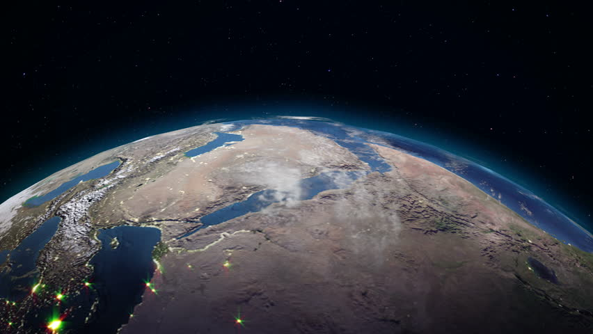 Realistic Earth rotating in space (loop). On the planet Earth is visible the change of day and night, with the correct rotation in the seamless loop. There are cities with night lighting | Shutterstock HD Video #34052758