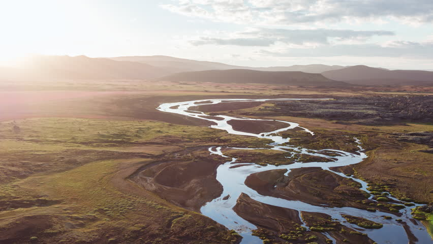 Majestic Aerial Flight Through Epic Iceland Landscape River Golden Hour Sunset Colors Scandinavian Landscape Amazing Nature