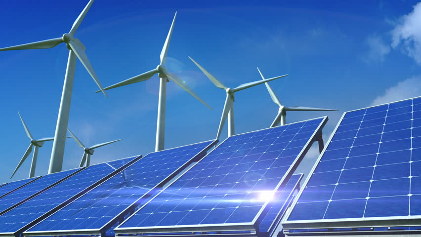 Power generation by wind turbines and solar panels.  | Shutterstock HD Video #34077364