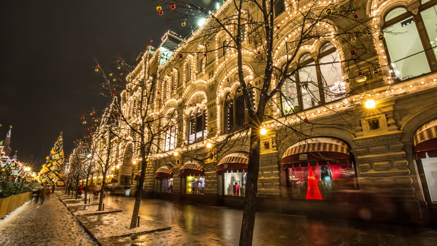 Moscow GUM With Christmas Lights night hyperlapse