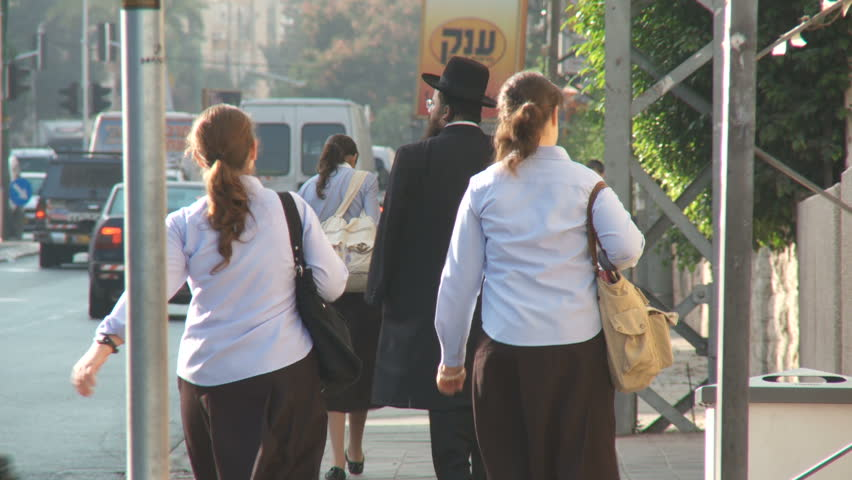 Bnei Brak Israel, Circa 2011 - Busy street with orthodox jews walking | Shutterstock HD Video #34102984
