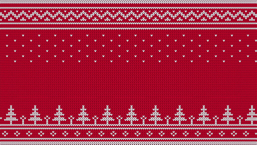 Animated looped knitted sweater ornament - spruce, falling snow, national patterns. White on a red  background.