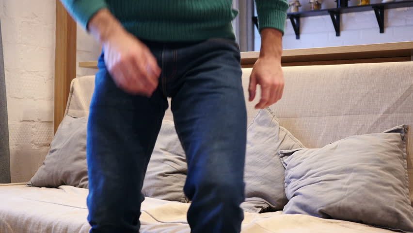 Relax Man Leaving Room after Watching TV | Shutterstock HD Video #34124989