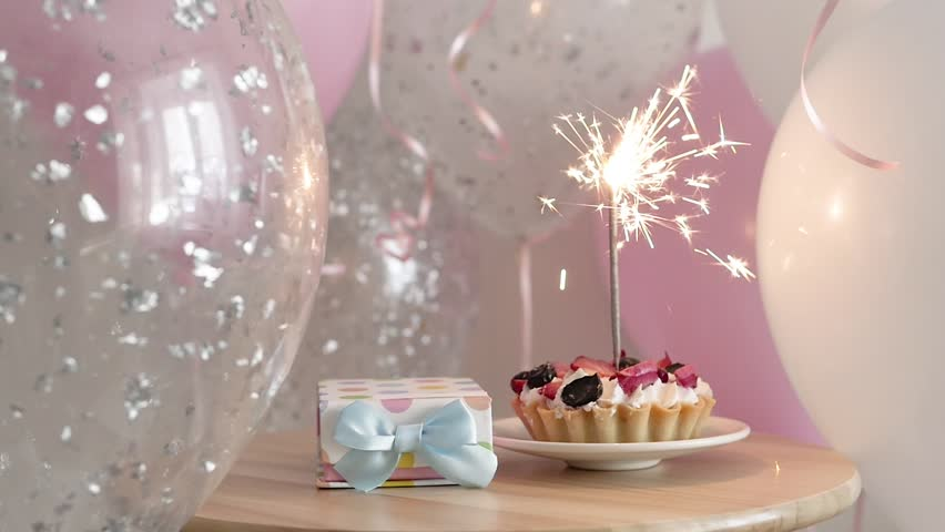 Marvelous Happy Birthday Cake With Sparklers Stock Footage Video 100 Funny Birthday Cards Online Inifodamsfinfo