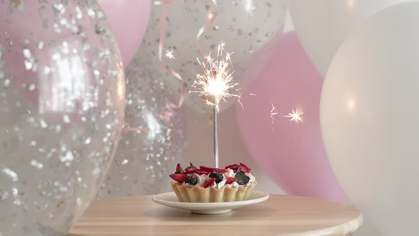 Magnificent Happy Birthday Cake With Sparklers Stock Footage Video 100 Funny Birthday Cards Online Fluifree Goldxyz