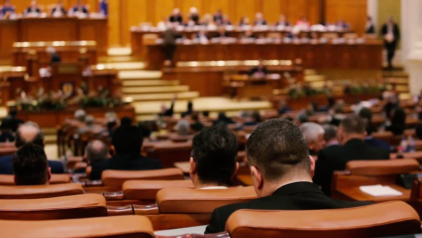 Members of Romanian Parliament voting by raising their hands Royalty-Free Stock Footage #34149004