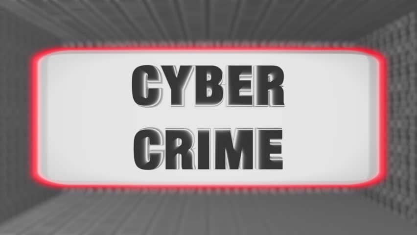 "Seamless looping 3d animated bright futuristic motherboard with the animated word ""Cyber Crime"" in 4K resolution 