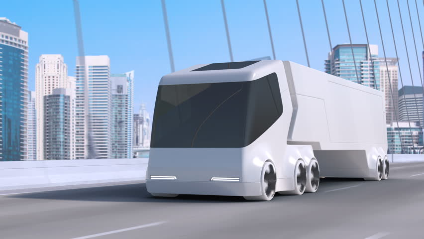 Futuristic unmanned electric truck car driving on bridge road on modern skyscrapers cityscape background. Future eco green transport city concept. Cargo cars, delivery, logistics transportation