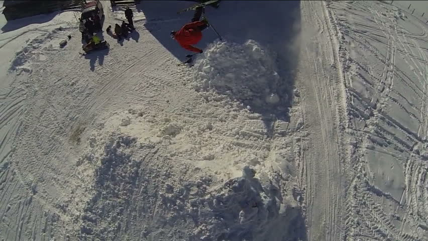 Skier Doing Extreme Trick Shot From Helicopter