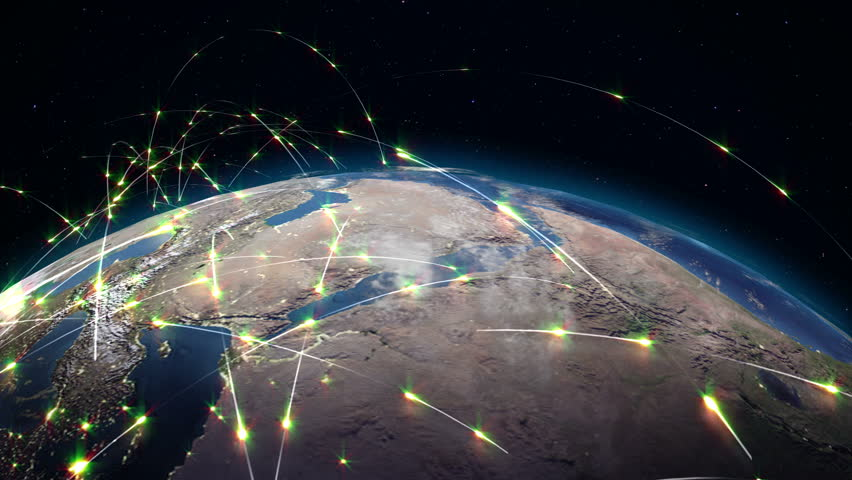 Abstract concept of global network. Internet and global communications, global business and transport communications of the Earth | Shutterstock HD Video #34193047