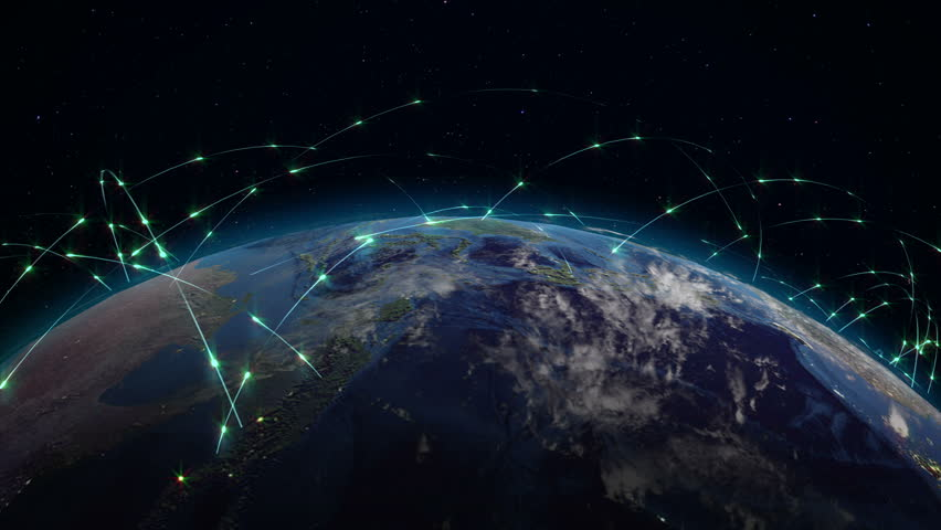 Abstract concept of global network. Internet and global communications, global business and transport communications of the Earth | Shutterstock HD Video #34193053