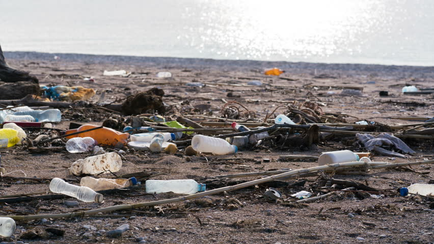Beach polluted with plastic bottles