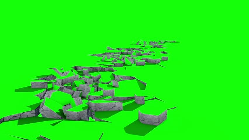 Ground Crack Debris Earthquake Green Screen 3D Renderings Animations