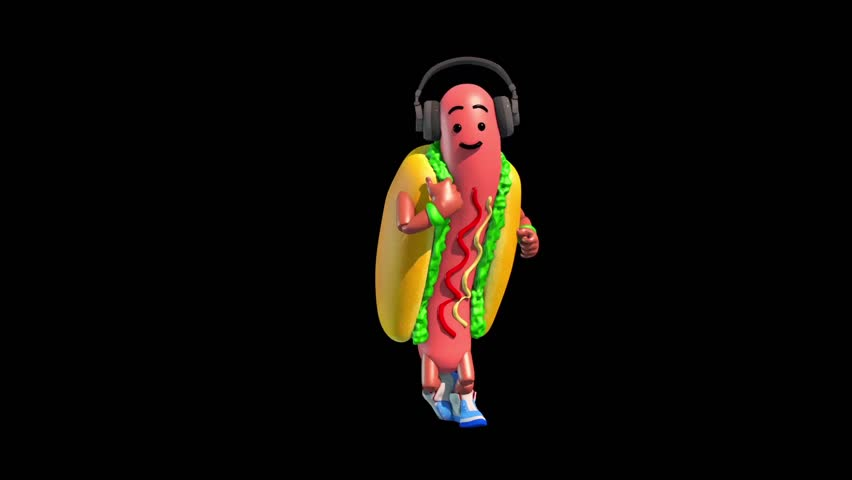 Part 4 Hot Dog Food Dance 3 Alpha Matte Shadow 3D Renderings Animations