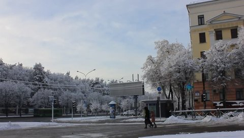 Winter cityscape in the morning