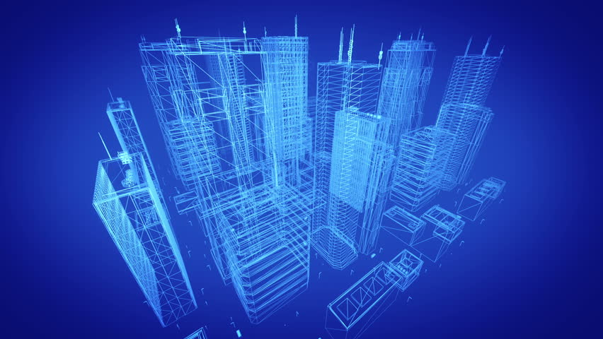 Architectural blueprint of contemporary buildings. Blue tint. Seamless loop. More colors available - check my portfolio. | Shutterstock HD Video #3421214