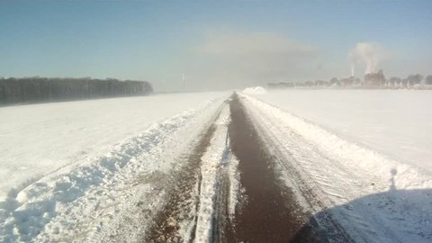 video footage of driving in Snow landscape in germany