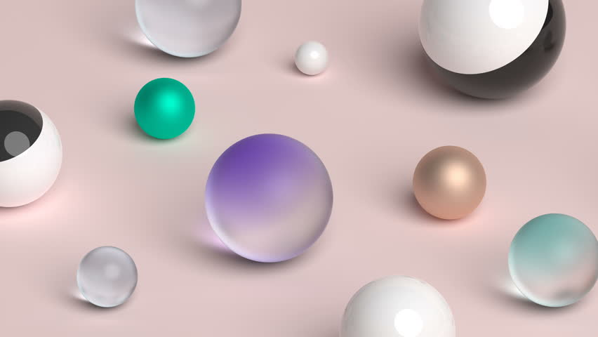 Seamless abstract motion of geometric shapes. Computer generated loop animation with spheres. Modern background design for poster, cover, branding, banner. 3d rendering 4k UHD #34220575