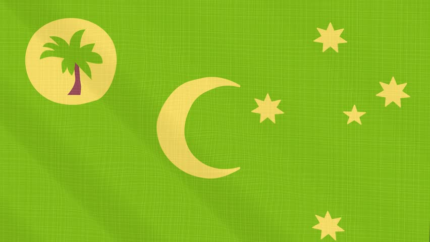 Cocos island flag waving in the wind. Background with rough textile texture. Animation loop. Element for web site, presentation, import into video.