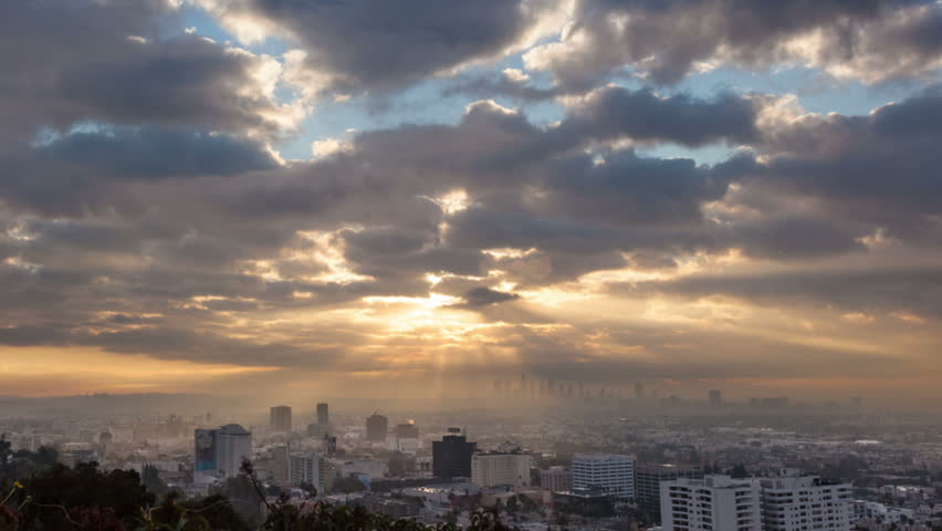 Sunrise over Los Angeles cityscape. Zoom in on downtown. Timelapse. | Shutterstock HD Video #3424058