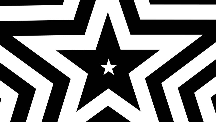 Five point star black and white mask animated grows. Seamless loop shape star motion CG. Pentagram tunnel.