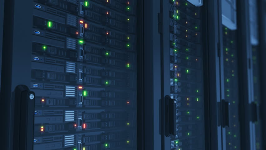 Beautiful Working Servers Close-up in Modern Data Center. Cloud Computing Data Storage Flashing Lights. Heavy 3d Rendering. Looped 3d animation. 4k Ultra HD 3840x2160. | Shutterstock HD Video #34268950