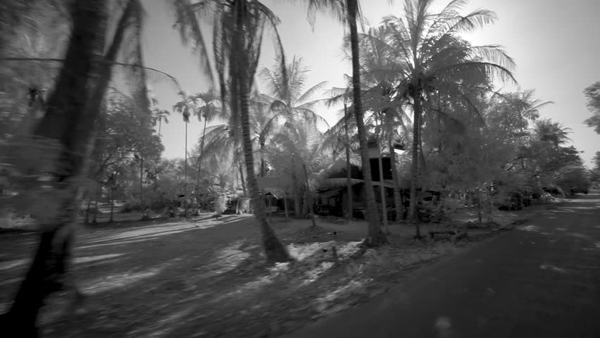[Countryside AngkorWat SiemReap 077 MP4 3]Lens flares from the sun and view of the local houses from a tuk tuk in Angkor Wat, Seam Reap, Cambodia, filmed in black and white.