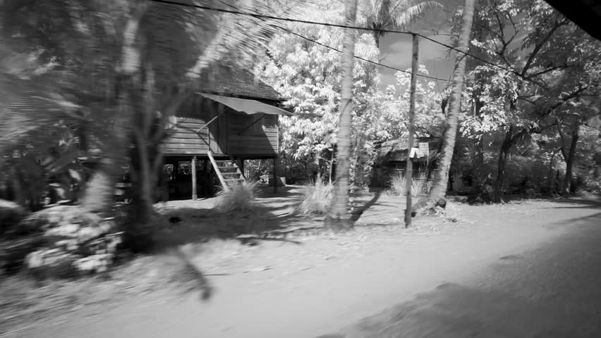 [Countryside AngkorWat SiemReap 047 MP4]View of the local houses from a tuk tuk in Angkor Wat, Seam Reap, Cambodia, filmed in black and white.