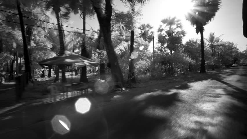[Countryside AngkorWat SiemReap 080 MP4]View of the local houses from a tuk tuk in Angkor Wat, Seam Reap, Cambodia, filmed in black and white.