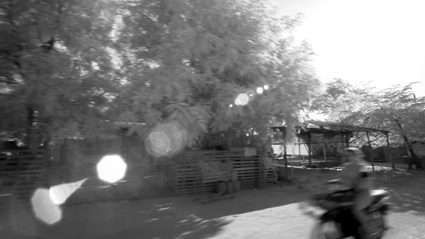 [Countryside AngkorWat SiemReap 079 MP4]View of the local houses from a tuk tuk in Angkor Wat, Seam Reap, Cambodia, filmed in black and white.