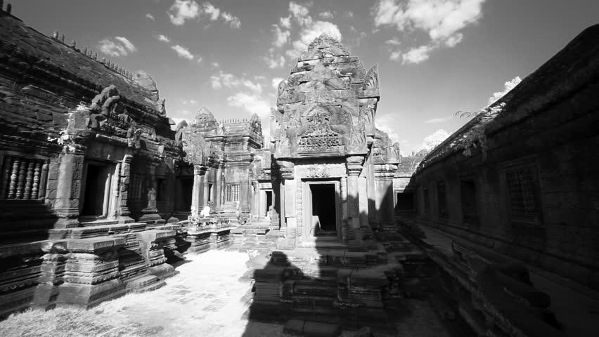 [BanteaySrei AngkorWat SiemReap 072 MP4]Whip pan across the many ruins of Banteay Srei temple in Angkor Wat Archeological Park.