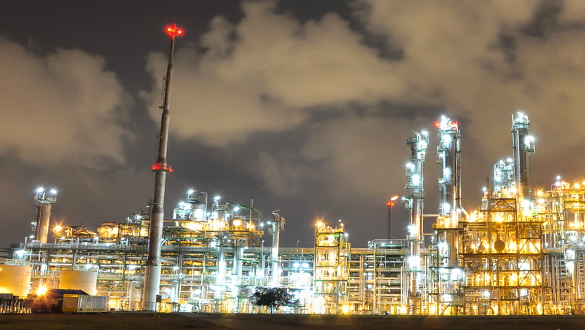 Night scene of Oil and Chemical Plant - Time Lapse