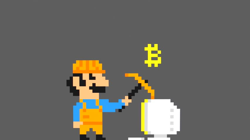 Retro Pixel Art Game Bitcoin Mining Character Loop Animation. Blockchain Cryptocurrency Cartoon Motion Design Background Concept. 4K.
