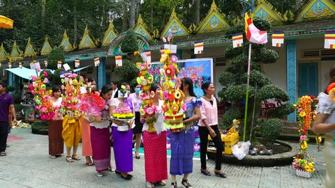 Tra Vinh, Viet Nam - November, 2017: People are launching sky lanterns during Ok Om Bok festival of Khmer.