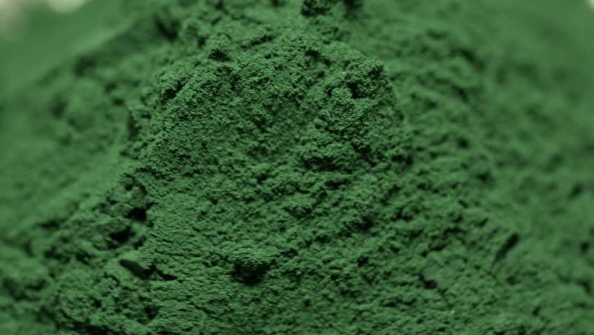 Spirulina Algae Powder, close upon white background .Macro, selective focus