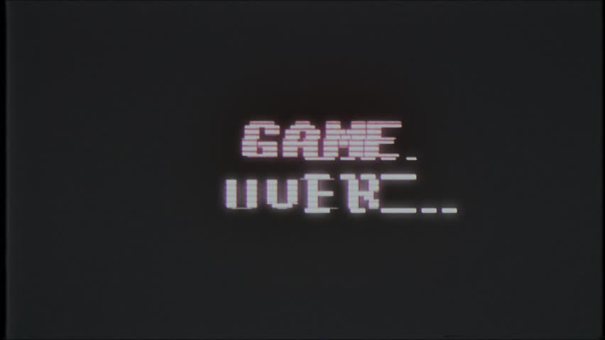 Retro videogame GAME OVER text on computer old tv glitch interference noise screen animation seamless loop - New quality universal vintage motion dynamic animated background colorful joyful video