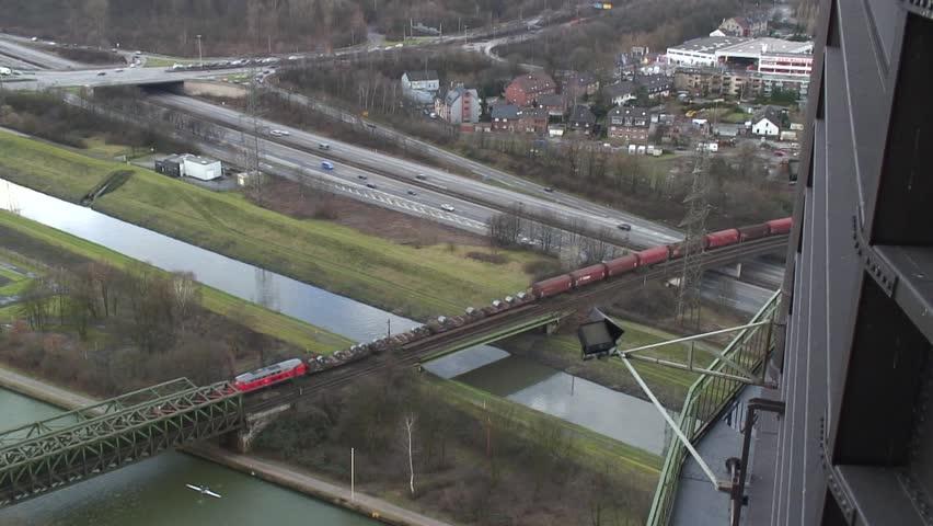 Railway bridge from the Gasometer in Oberhausen | Shutterstock HD Video #3433415