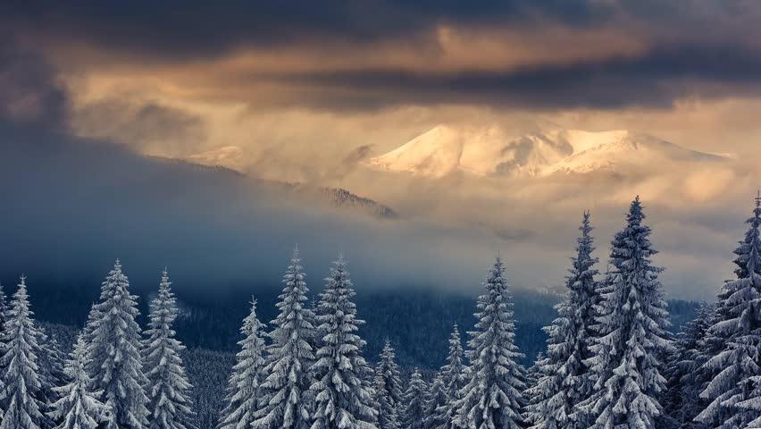 Majestic sunset in the mountains landscape. Carpathian, Ukraine. Time lapse, stop-motion clip. HD video (High Definition)
