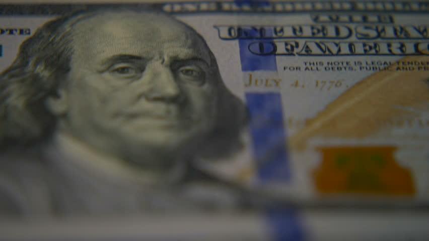 Dollar bills close-up. Macro photography of bank notes. Portrait of George Washington. | Shutterstock HD Video #34343755