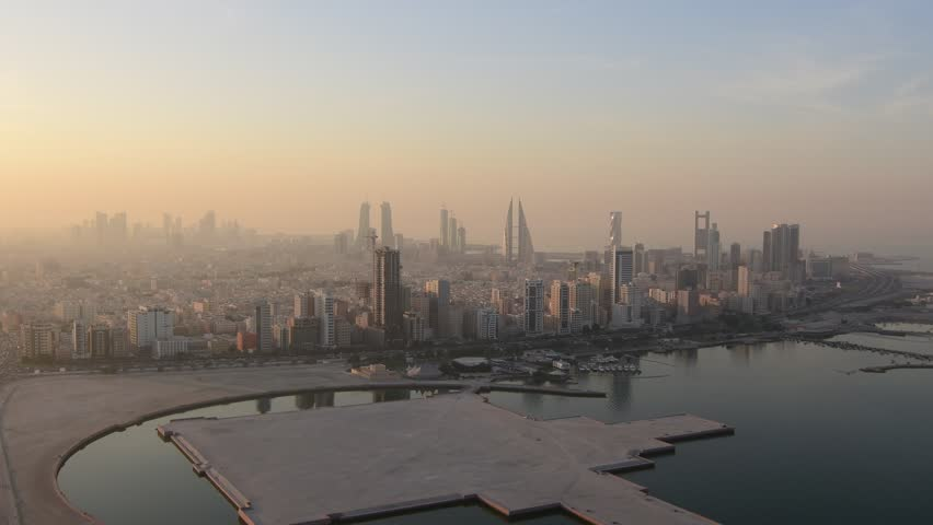 Aerial view of Manama city, Bahrain on a  foggy evening.