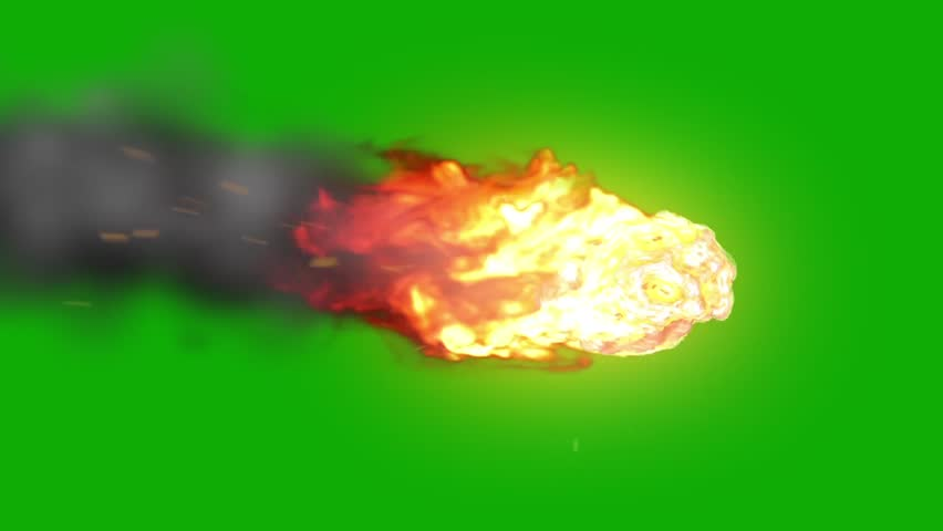 Asteroid Meteor Entering Atmosphere Green Screen Space Fire Burn Universe 3D Renderings Animations